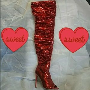 Sexy Red Sequin Over The Knee Boots💟FINAL PRICE💟